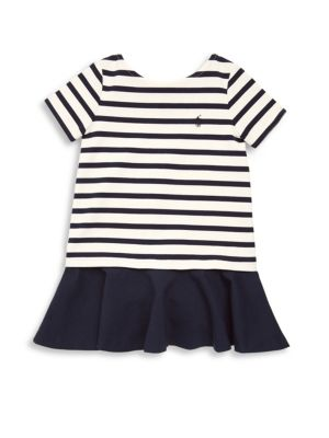 Image of Bold stripes and a ruffled skirt give this dress a playful look that's perfect for birthday parties and playdates, while the smooth ponte fabric ensures a comfy fit. Drop-waist silhouette with a boxy fit. Ballet neckline. Short sleeves. Ruffled skirt. Pol