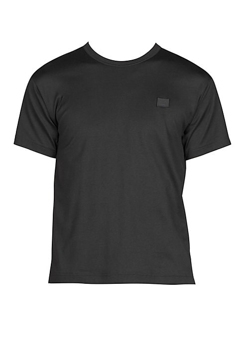 """Image of Casual cotton tee with patch detail on front. Crewneck. Short sleeves. Pullover style. About 25"""" from shoulder to hem. Cotton. Machine wash. Imported."""