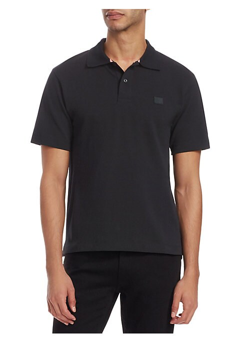 """Image of Casual cotton polo with patch detail on chest. Point collar. Short sleeves. Two-button placket. About 25"""" from shoulder to hem. Cotton. Machine wash. Imported."""