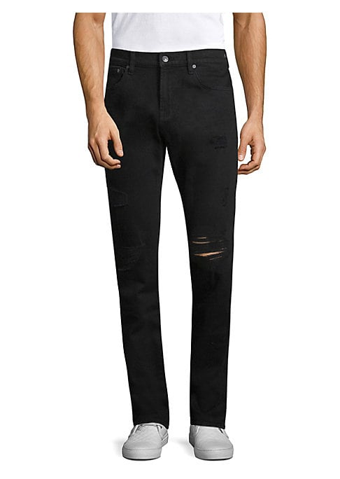 """Image of Modern jean with frayed leg openings. Belt loops. Button closure. Five-pocket style. Slim-fit. Rise, about 8""""-9"""".Inseam, about 30"""".Cotton/spandex. Machine wash. Imported."""