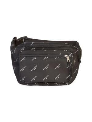 Men'S Logo-Print Nylon Belt Bag in Black