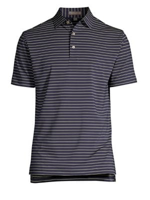 "Image of Casual polo with allover horizontal pattern. Polo collar. Long sleeves. Three-button placket. About 28"" from shoulder to hem. Polyester/spandex. Machine wash. Imported."