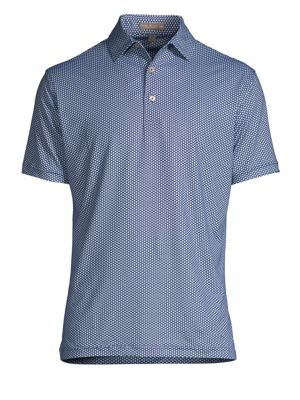 "Image of Elevate your casual look with this printed polo. Polo collar. Short sleeves. Three-button placket. About 28"" from shoulder to hem. Polyester/spandex. Machine wash. Imported."