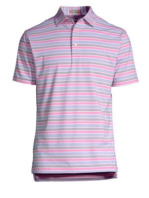 "Image of Classic polo with contrasting pattern allover. Polo collar. Short sleeves. Three-button placket. About 27"" from shoulder to hem. Polyester/spandex. Machine wash. Imported."