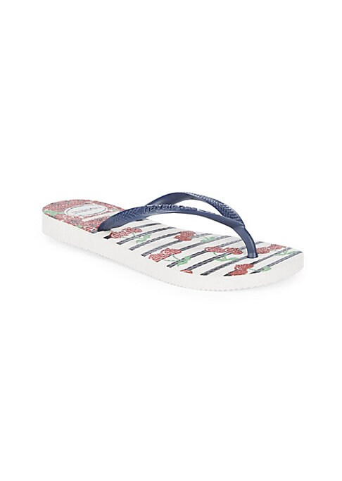 Image of Slim silhouette in a glitter cherry print completes these PVC flip flops. PVC upper. Rubber sole. Imported.