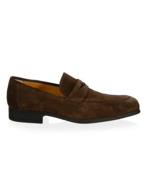 A. TESTONI Casual Suede Penny Loafers in Brown