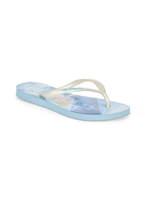 Image of Snow White with glitter straps complete these PVC flip flops. Slip-on style. PVC upper. Rubber sole. Imported.