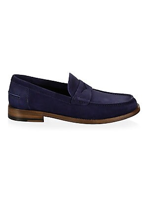 Image of Classic loafers tailored from smooth suede Suede upper Round toe Slip-on style Leather sole Made in Italy. Men's Shoes - Mens Classic Footwear. A. Testoni. Color: Navy. Size: 11.5.