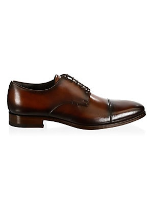 Image of Enhance your casual ensemble with these leather derbys Leather upper Cap toe Lace-up vamp Leather lining and sole Made in Italy. Men's Shoes - Mens Classic Footwear. A. Testoni. Color: Caramel. Size: 8.