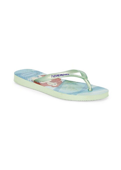 Image of Mermaid princess with glitter straps complete these PVC flip flops. Slip-on style. PVC upper. Rubber sole. Imported.