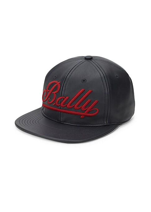 "Image of Bold contrast logo adorns sleek leather cap. Adjustable grip-tape closure. Brim, about 3"".Leather. Made in Italy."