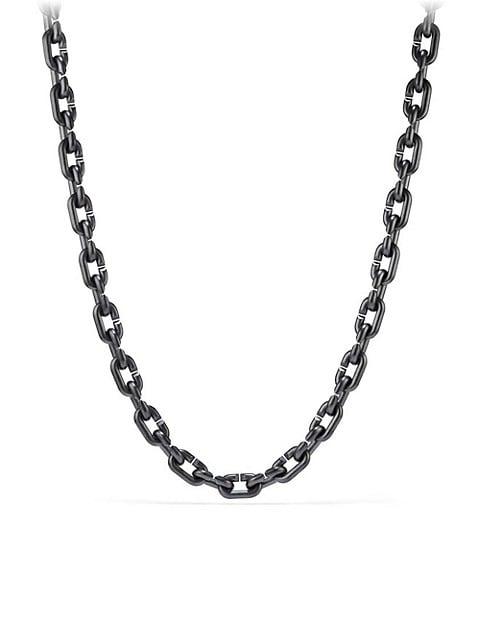 Chain Link & Black Titanium Narrow Necklace