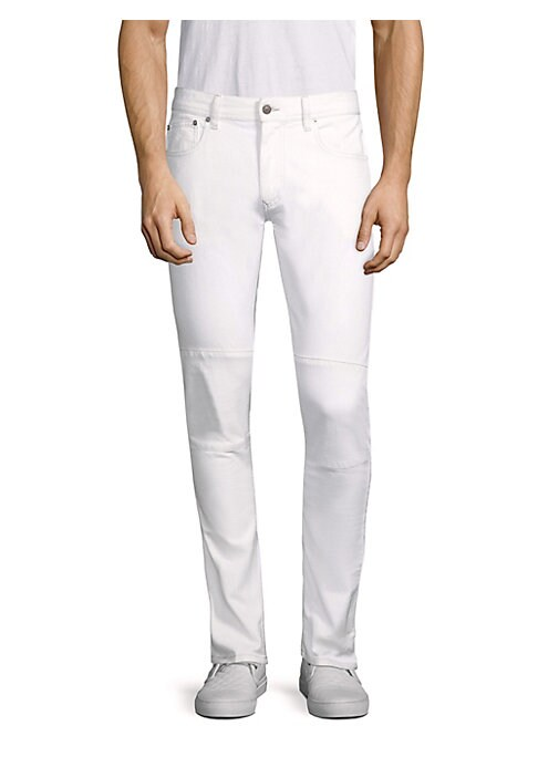 """Image of Cotton-blend straight fit jeans with visible seams. Belt loops. Zip fly with button closure. Five-pocket style. Rise, about 10"""".Inseam, about 33"""".Leg opening, about 16"""".Cotton/elastomultiester/elastane. Machine wash. Imported."""