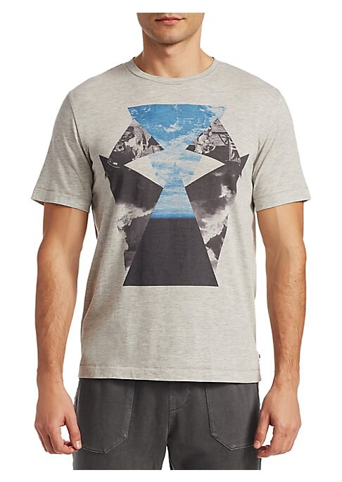 Image of Abstract sky graphic adorns soft T-shirt. Crewneck. Short sleeves. Pullover style. Cotton/polyester/rayon. Machine wash. Imported