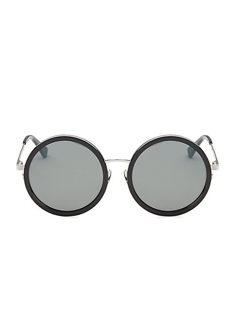 Image of Retro-inspired round sunglasses with metal trim.52mm lens width; 16mm bridge width; 140mm temple length. Adjustable nose pads.100% UV protection. Metal/acetate. Made in Italy.