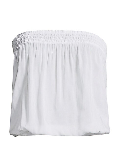 """Image of Flirty tube top with flattering bloused bodice. Straight across neckline. Sleeveless. Pullover style. Elasticized waist. Rayon. Machine wash. Imported. SIZE & FIT. About 16"""" from bust to hem. Model shown is 5'10"""" (177cm) wearing size Small."""