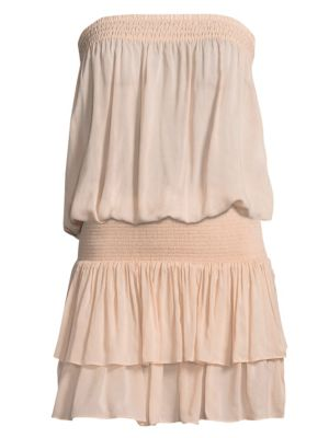Yanni Strapless Smocked Blouson Top, Blush