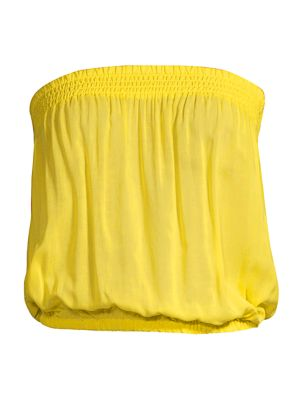 Yanni Strapless Smocked Blouson Top in Yellow