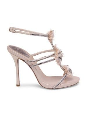 "Image of Ankle strap sandal embellished with beads, crystals and feathers. Covered stiletto heel, 4.3""(110mm).Satin upper. Open toe. Embellished ankle strap closure. Leather lining and sole. Made in Italy."