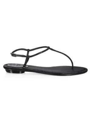 Rene Caovilla Strass T Strap Crystal Sandals