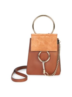 Faye Small Leather Bracelet Bag, Classic Tobacco in Brown