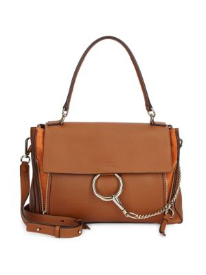 Faye Day Mixed Flap Medium Shoulder Bag, Tan in Brown
