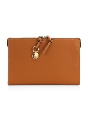 Small Alphabet Leather Pouch, Tan