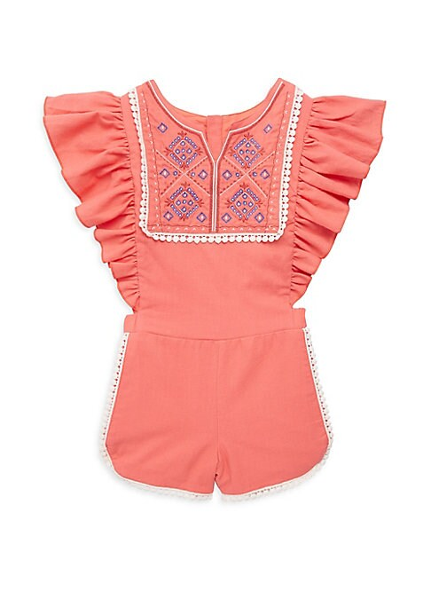 Image of Cotton shortall with embroidered design on front yoke. Split neck. Cap sleeves. Concealed back zip. Cotton. Machine wash. Imported.