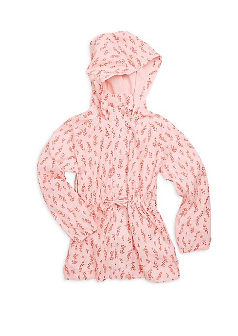 Image of Allover floral print adds quirky accents to windbreaker. Attached hood. Stand collar. Long sleeves. Elasticized cuffs. Snap-button front. Ruched self-tie waist. Polyester. Machine wash. Imported.