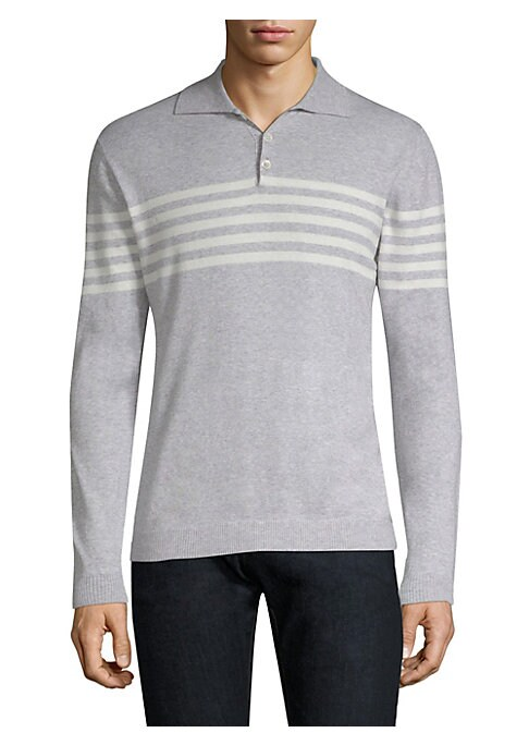 "Image of Heathered polo with stripes across the chest. Polo collar. Long sleeves. Three-button placket. Ribbed trim. About 26"" from shoulder to hem. Cotton. Dry clean. Made in Italy."