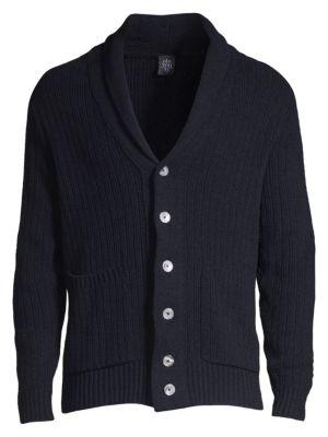 Eleventy Knits Ribbed Shawl Collar Cardigan