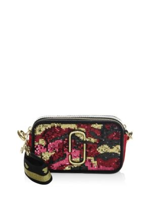 Snapshot Camo Sequin Leather Camera Bag, Pink