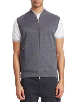 Brunello Cucinelli  Heathered Full Zip Vest