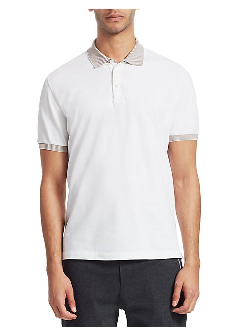 "Image of Comfortable cotton polo with contrasting stripe trims. Polo collar. Short sleeves. Three-button placket. About 26"" from shoulder to hem. Cotton. Machine wash. Made in Italy."