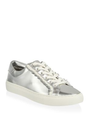 Ruffle Leather Metallic Sneakers by Tory Burch