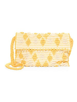 "Image of Beautifully textured crochet clutch with braided strap is vintage-inspired Strap drop, about 18"" Magnetic-flap closure Interior flap pocket 11""W x 9""H x 1""D Organic cotton Made in Italy. Handbags - Contemporary Handbags. Antonello Tedde. Color: Giallo Gre"