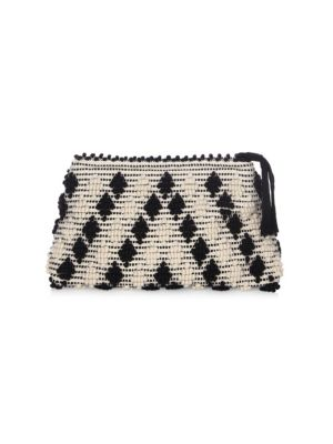 """Image of Pouch with contrasting color design. Top zip closure. Two interior open pockets. Includes dust bag.15""""W x 10""""H x 2""""D.Cotton. Made in Italy."""