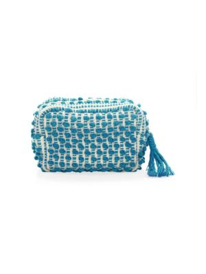 """Image of Contrast woven pattern elevates pouch to elegance. One interior slip pocket.7""""W x 5""""W x 3""""D.Shell/lining: Cotton. Made in Italy."""