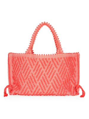 """Image of Boho-style cotton tote with allover pom pom motif. Double top handles, 7.5"""" drop. Top magnetic-snap closure. One interior slip pocket. Cotton lining. Includes dust bag.20""""W x 12""""H x 3""""D.Cotton. Made in Italy."""
