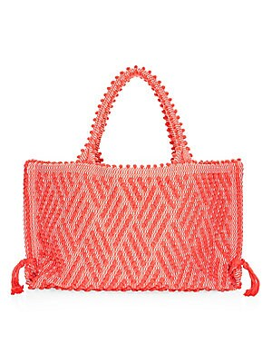 """Image of Boho-style cotton tote with allover pom pom motif Double top handles, 7.5"""" drop Top magnetic-snap closure One interior slip pocket Cotton lining Includes dust bag 20""""W x 12""""H x 3""""D Cotton Made in Italy. Handbags - Contemporary Handbags > Saks Fifth Avenue"""
