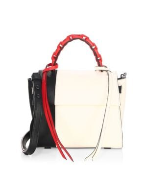 Elena Ghisellini Tri-Tone Leather Top Handle Bag