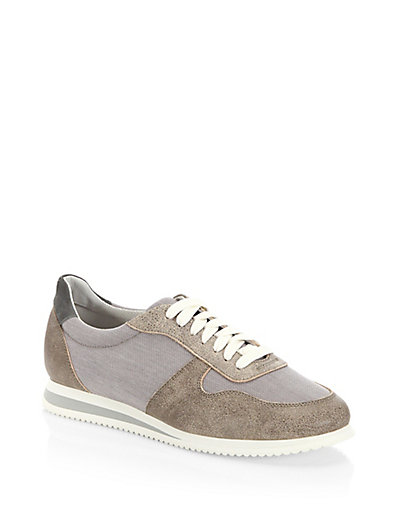Colorblocked suede sneakers Brunello Cucinelli be2PKFnLt4