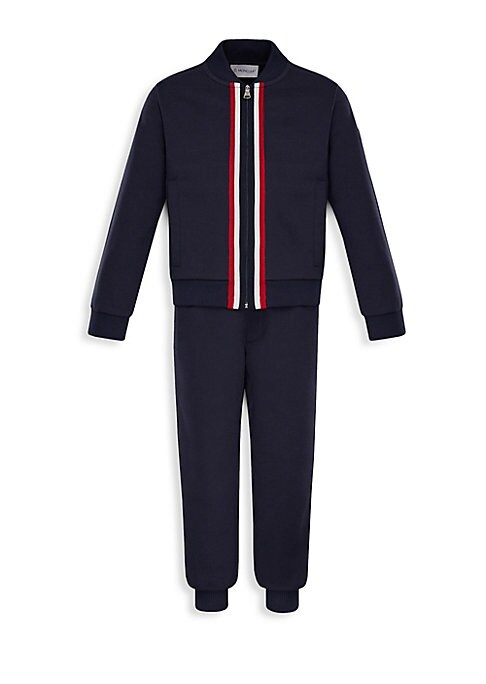 Image of Two-piece cotton set that includes a jacket and pants with iconic flag detail piping. Cotton. Hand wash. Imported. Jacket. Stand collar. Long sleeves. Rib-knit at cuffs and hem. Exposed front zip. Side slip pockets. Pants. Elasticized waist. Faux fly. Rib