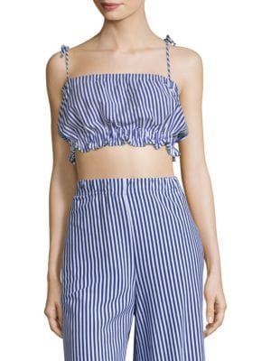MDS STRIPES Taylor Cropped Striped Cotton-Jersey Top in Blue