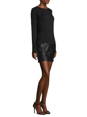 "Image of EXCLUSIVELY AT SAKS FIFTH AVENUE. Long sleeve mini dress featuring a sequin skirt. Bateau neckline. Long sleeves. Pullover style. Contrast skirt. About 35"" from shoulder to hem. Cotton/polyester/spandex. Dry clean. Made in USA. Model shown is 5'10"" (177cm"