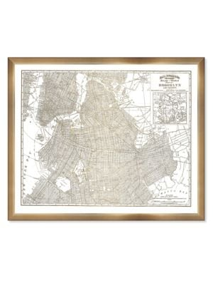 Oliver Gal Brooklyn Map Framed Print