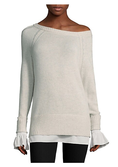 "Image of Cozy layered one-shoulder sweater in lavish cashmere-blend. Asymmetrical neckline. Long sleeves. Rib-knit at neck, cuffs and hem. Pullover style. About 26"" from shoulder to hem. Cashmere/wool/polyester georgette. Dry clean. Imported. Model shown is 5'10"""