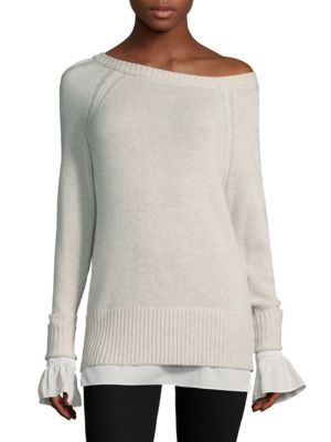 """Image of Asymmetric rib-knit sweater. Asymmetric neck. One long sleeve. One off-the-shoulder sleeve. Rib-knit at neck, cuffs and hem. Pullover style. About 25.5"""" from shoulder to hem. Cashmere/wool/polyester georgette. Dry clean. Imported. Model shown is 5'10"""" (17"""