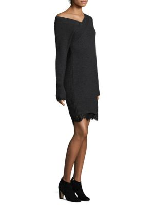 """Image of Asymmetric dress with lace hem. Asymmetric neck. One off-the-shoulder sleeve. One long sleeve. Rib-knit trim. Step hem with lace. Pullover style. About 33.25"""" from shoulder to hem. Wool/cashmere. Dry clean. Imported. Model shown is 5'10"""" (177cm) wearing U"""
