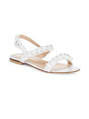 Image of Chic leather sandals with embellishments on straps Grip-tape strap Leather upper Leather lining Rubber sole Made in Italy. Children's Wear - Children's Shoes. Aquazzura Mini. Color: White. Size: 31 EU/ 13 US (Child).